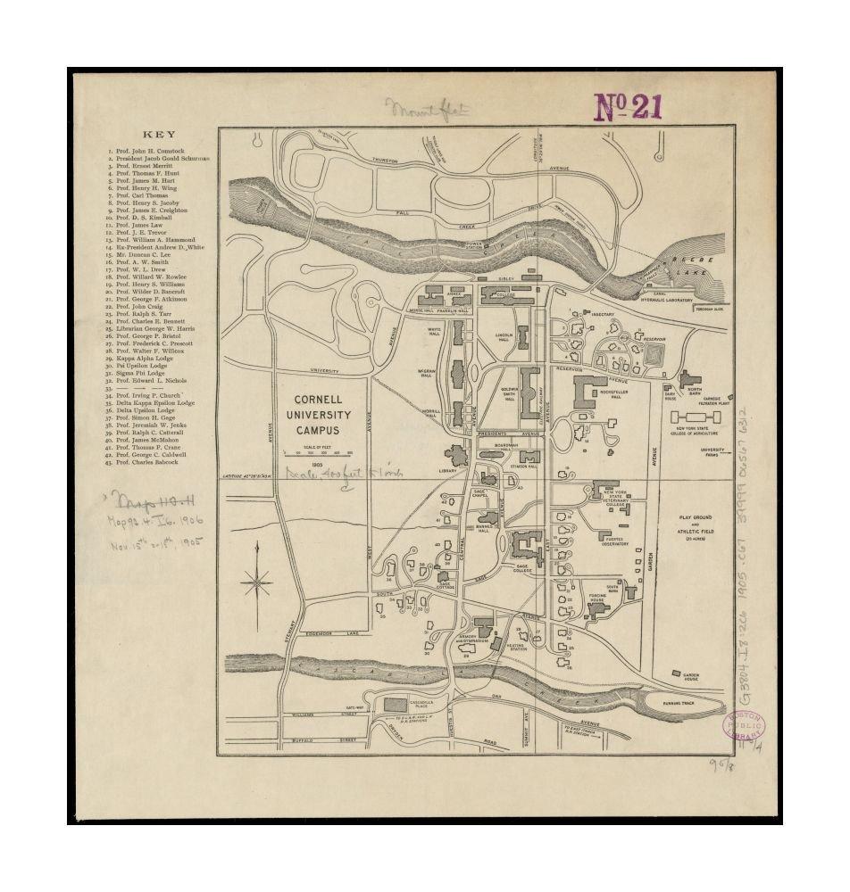 Amazon.com: 1905 Map New York Tompkins Ithaca Cornell ...