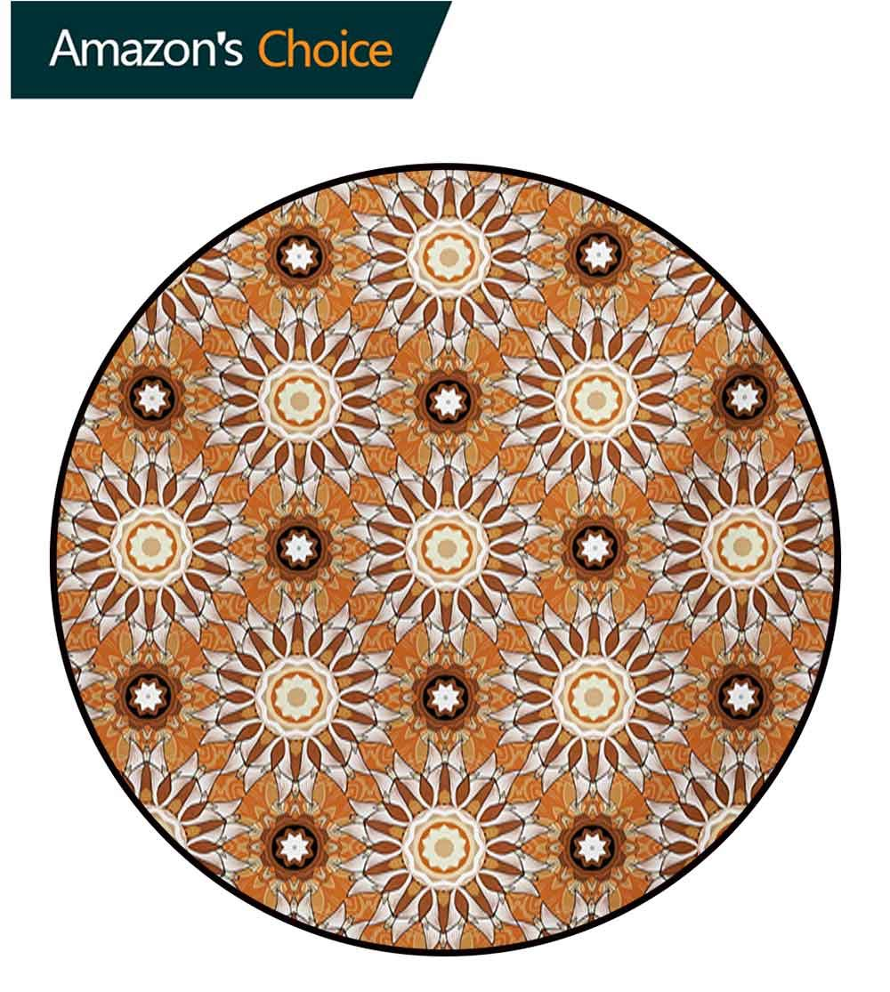 RUGSMAT Tan and Brown Small Round Rug Carpet,Artistic Classical Flowers Pattern with Baroque Style Details and Retro Look Door Mat Indoors Bathroom Mats Non Slip,Diameter-71 Inch Multicolor