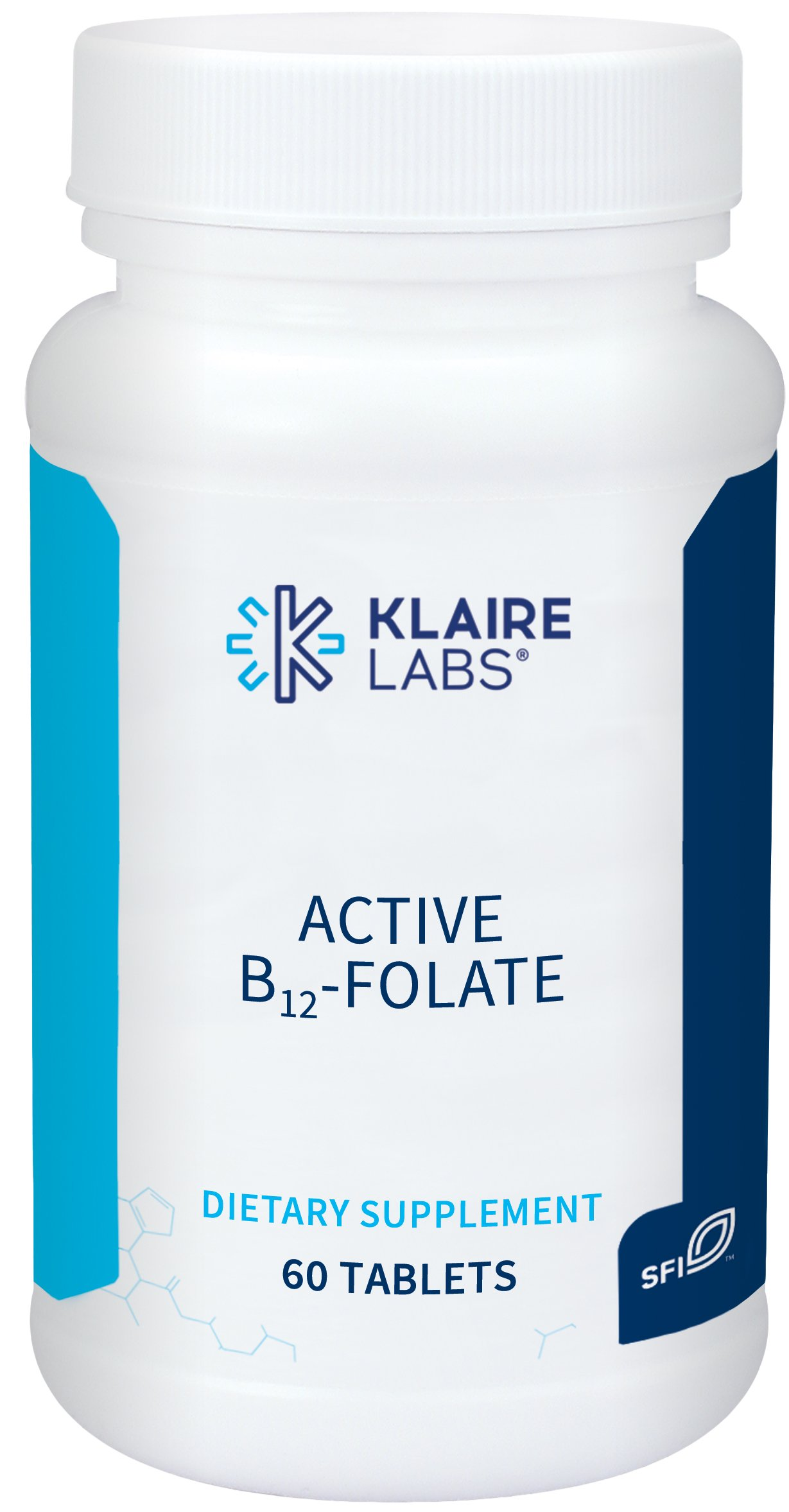 Klaire Labs Active B12-Folate Lozenges - High Potency Methylcobalamin and Metafolin Folate L-5-MTHF Vitamin Melts (60 Dissolvable Tablets)