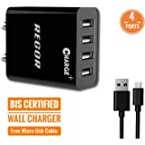 Regor [4 Port] 5 Amp Wall Charger Adapter/BIS Certified/Indian Plug for Mobiles&Tablets + Free Micro USB Cable