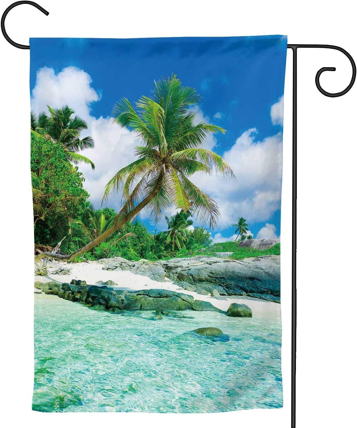 Hitecera Palms Eden Sea,Decorative Outdoor Flag Sign,House Yard Garden Flag Seasonal Outside Decoration 12.5''x18''