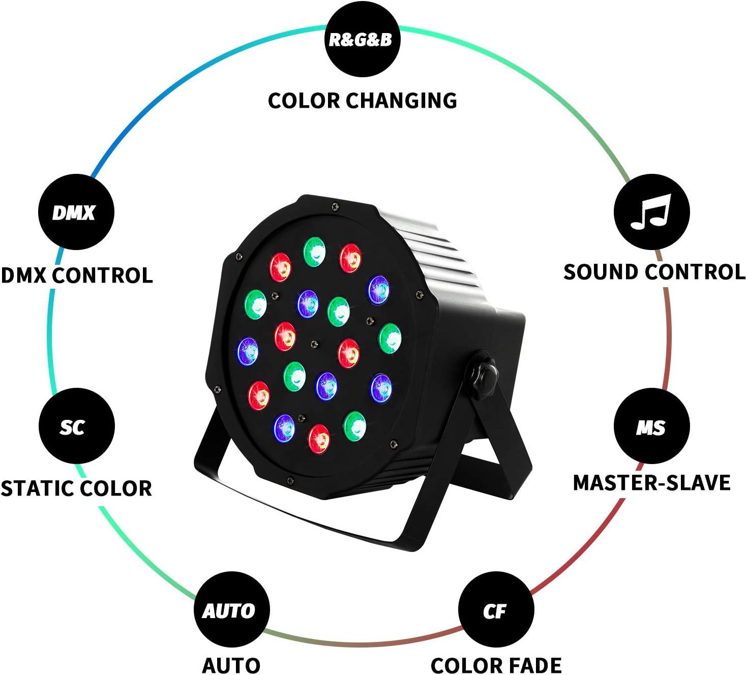 LED Par Light DMX Uplights LED Stage Lighting RGB Lighting 7 Modes DMX Lighting Controlled Sound for Club Party Show DJ Church Diso KTV,4Pieces 18x3Watts