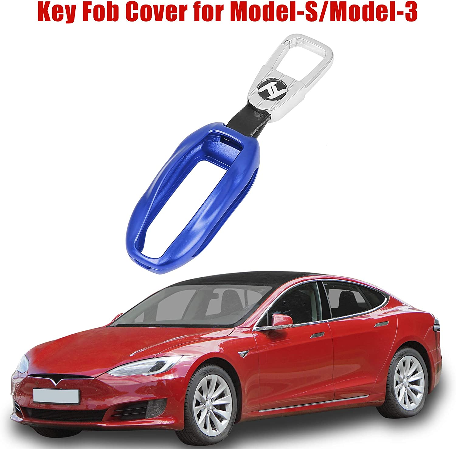 X AUTOHAUX Aluminum Alloy Car Key Fob Cover Flip Key Shell Protector Case Holder with Round Keychain for Tesla Model S /& Model 3 Red