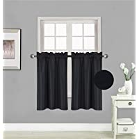 """Elegant Home 2 Panels Tiers Small Window Treatment Curtain Insulated Blackout Drape Short Panel 30""""W X 36""""L Each for Kitchen Bathroom or Any Small Window # R5"""