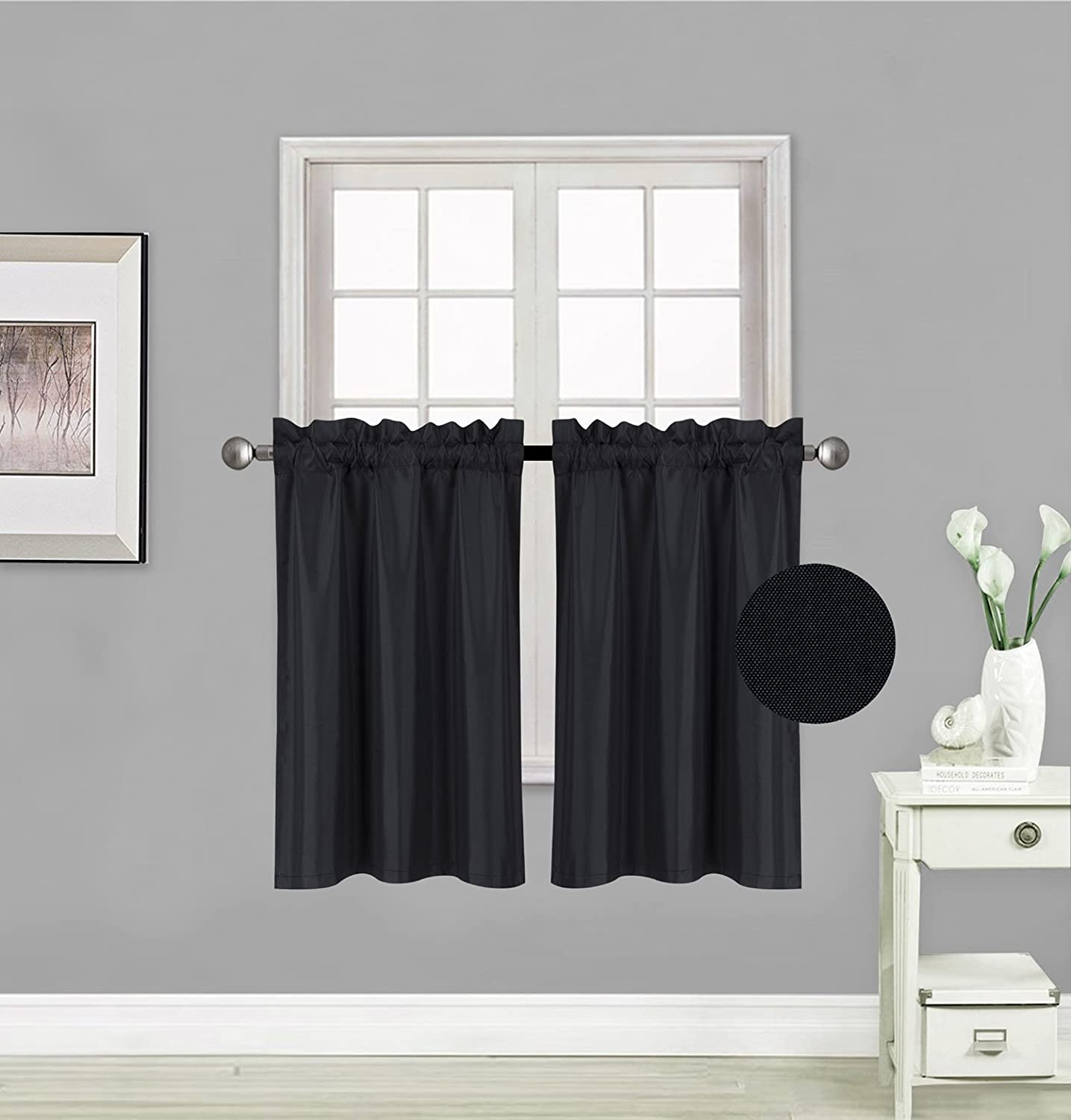 "Elegant Home 2 Panels Tiers Small Window Treatment Curtain Insulated Blackout Drape Short Panel 30""W X 36""L Each for Kitchen Bathroom or ANY Small Window # R5 (Black)"