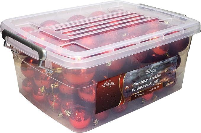 Wohaga® Set de 70 Bolas de Navidad Ø4/5/6cm / plástico/Rojo - Adornos del árbol de Navidad decoración navideña decoración para el Abeto: Amazon.es: Hogar