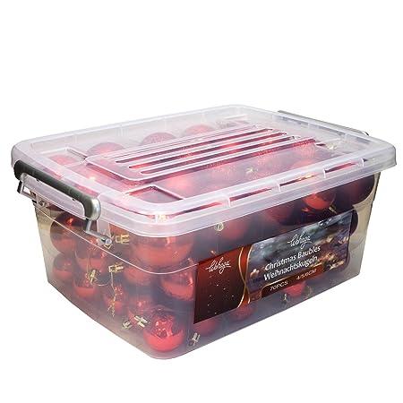 Wohaga® 70 Stück Weihnachtskugeln inkl. Transportbox Christbaumkugeln Baumschmuck Weihnachtsbaumschmuck Baumkugeln-Set, Farbe