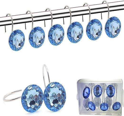 N//A 12 Pcs Shower Curtain Hooks Diamond-Shape Shower Rings Curtain Hangers Round Decorative Rhinestones Rolling for Bathroom Bath