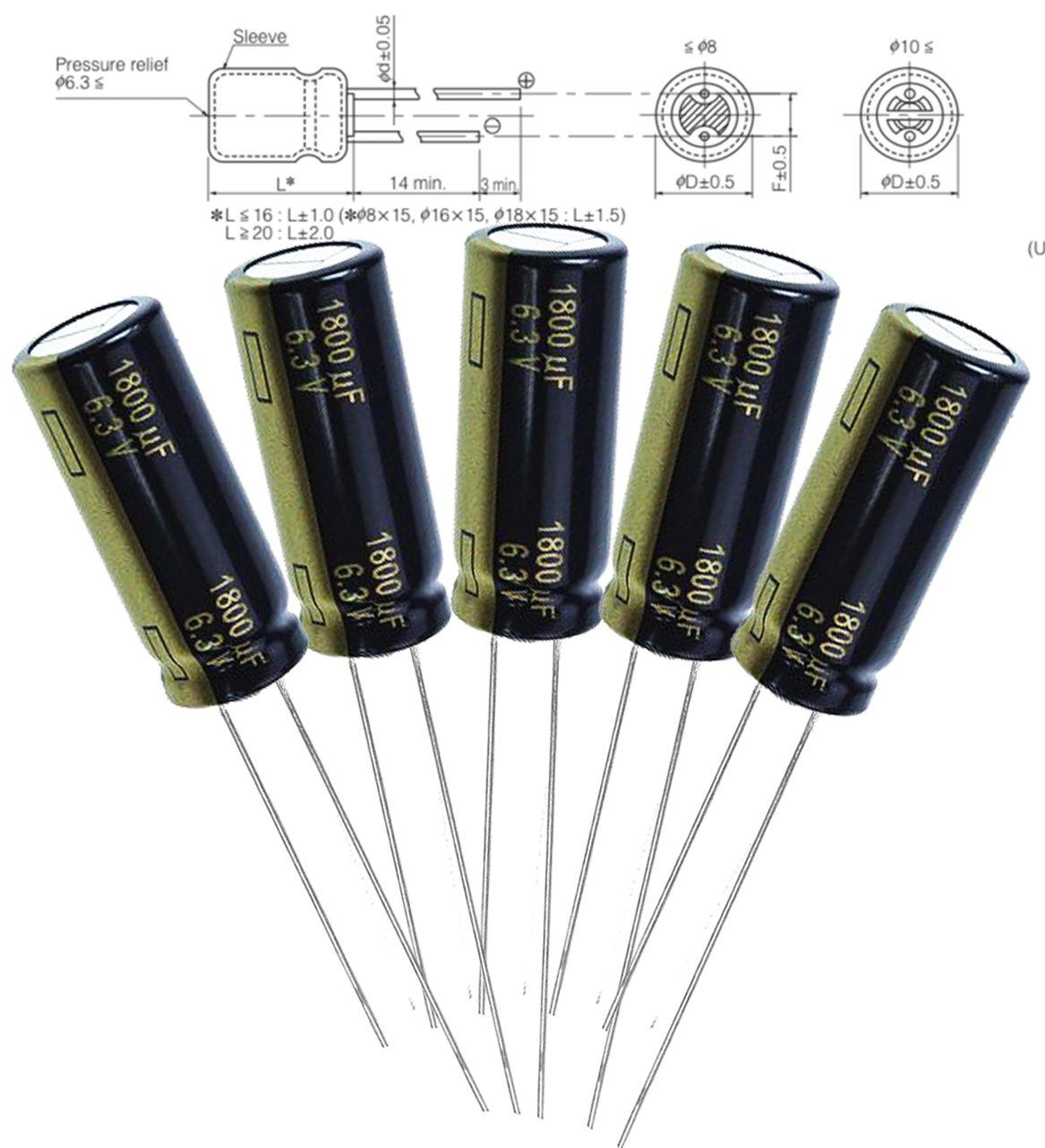 100P Original Rubycon MCZ 1800uF 6.3v 105c Radial Electrolytic Capacitor Low ESR