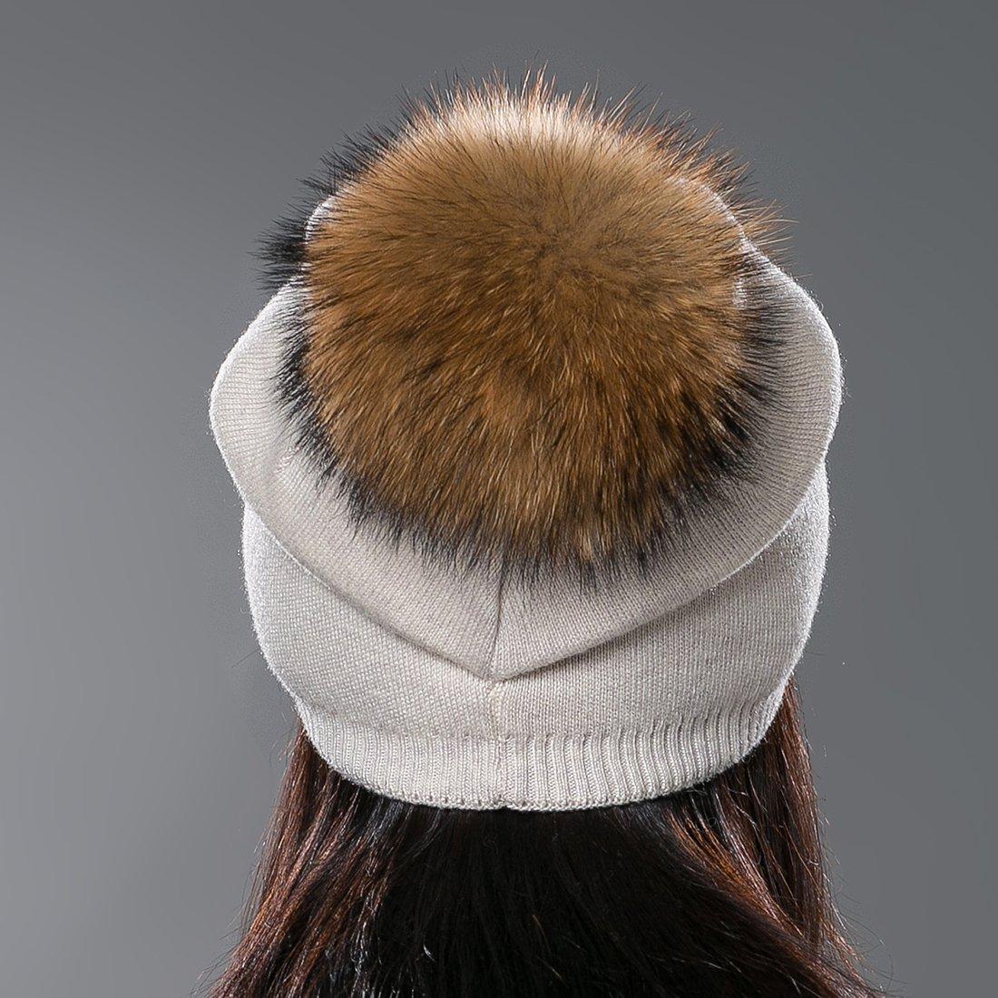 ec0cd834cdfed URSFUR Autumn Unisex Wool Knit Beanie Cap with Fur Ball Pom Pom Winter Hat  at Amazon Women s Clothing store