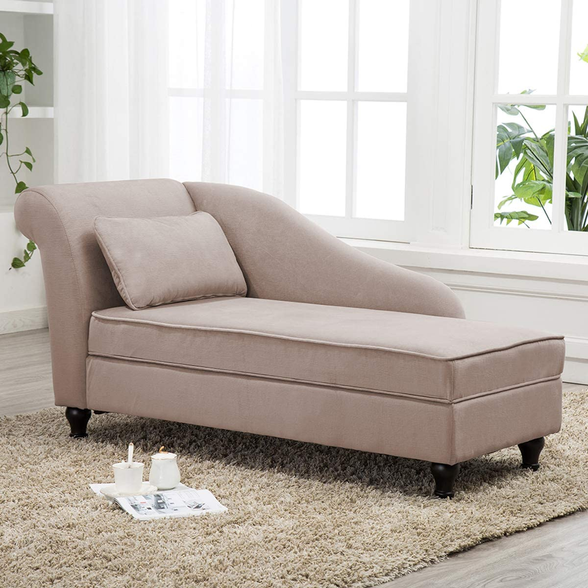 Storage Chaise Lounge Indoor Upholstered Chaise Lounger for Bedroom Living  Room Tan Fabric (Left Armrest)
