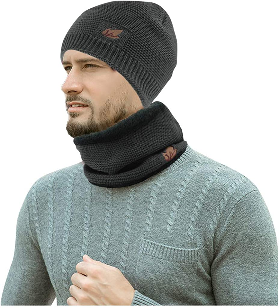 Winter Thicken Knitted Beanie Hat Circle Scarf Two-Piece Set Windproof Men Women