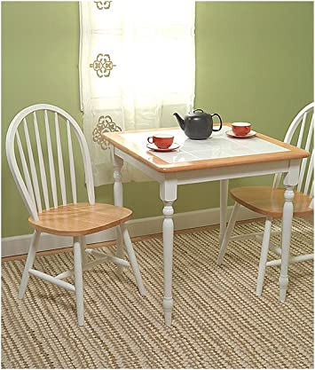 Amazon Com Dining Set Table And Two Chairs Tile Top Table White Sizes Vary Table Chair Sets