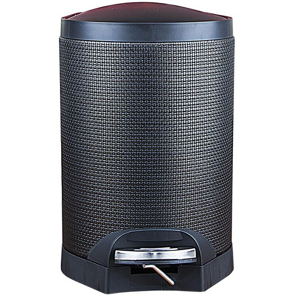 LINGZHIGAN 黒の織り方ゴミ箱でリビングルームペダルクリエイティブトイレ便器クラムシェルゴミ箱レトロゴミ箱はゴミ箱に覆われています (サイズ さいず : 5L) B07L1P5G2S  5L