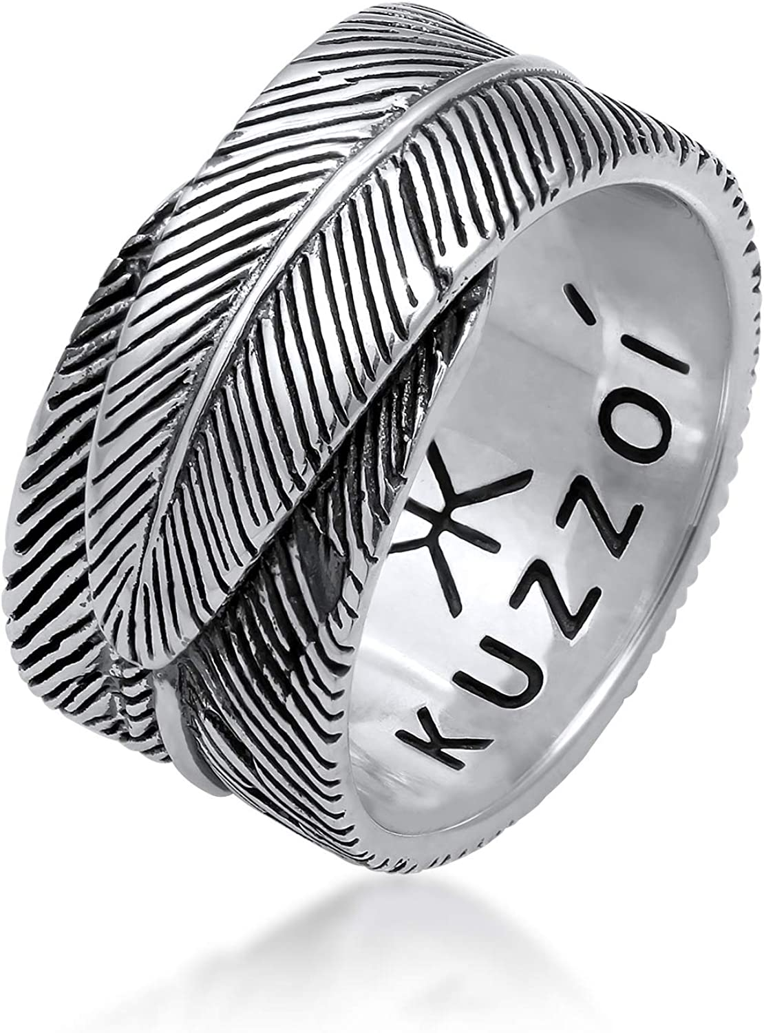 Ring Size 62 14mm in Spring Design Black Oxidized Band Ring Made of 925 Sterling Silver Ring in Vintage Look kuzzoi Men Massive Ring