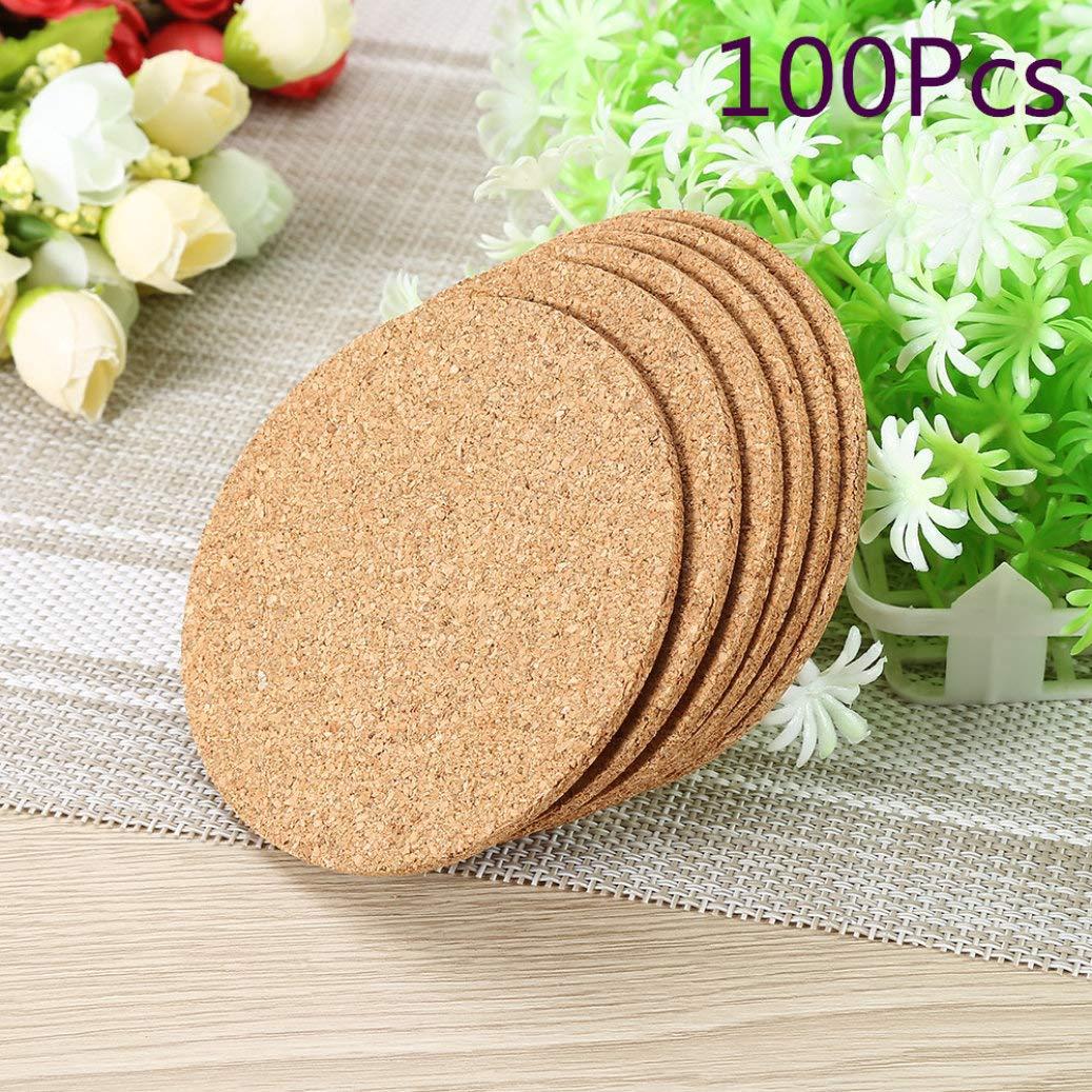 100pcs/lot Natural Coffee Cup Mat Round Wood Heat Resistant Cork Coaster Mat Tea Drink Pad Table Decor