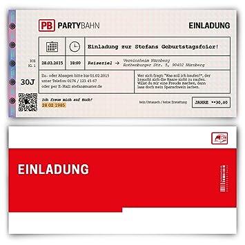 Einladungskarten zum Geburtstag (50 Stück) Bahnkarte Bahn Karte Zug ...