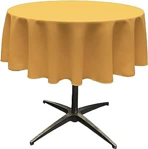 "LA Linen Polyester Poplin Round Tablecloth, 58"", Gold"