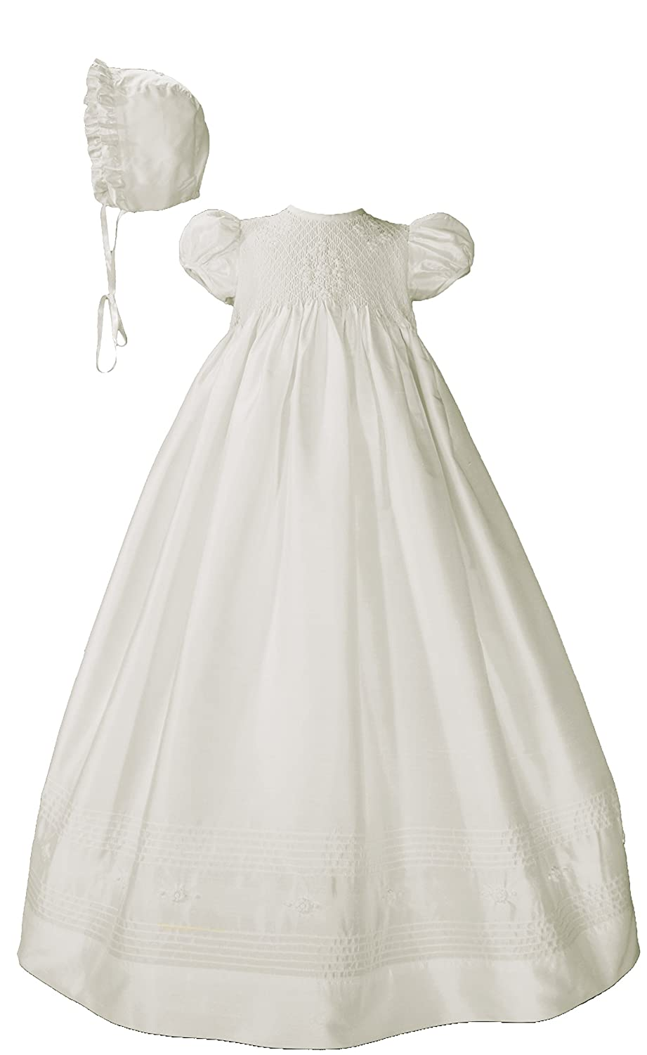 Amazon.com: Silk Dupioni Christening Baptism Gown with Smocked ...