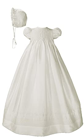 ba274e28c Little Things Mean A Lot Girls White Silk Dress Christening Gown Baptism  Gown with Smocked Bodice
