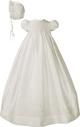 Little Things Mean A Lot Silk Dupioni Christening Baptism Gown with Smocked Bodice