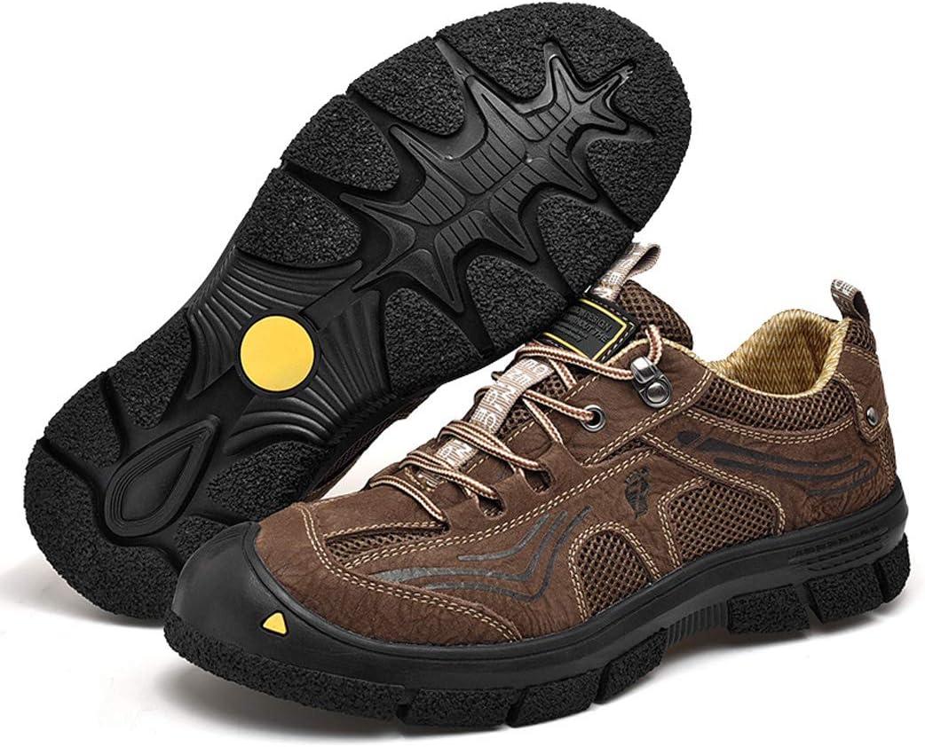 MALPYQ Outdoor-lederen wandelschoenen voor heren, casual sport-wandelschoenen van suède donkerbruin dreXaYiY