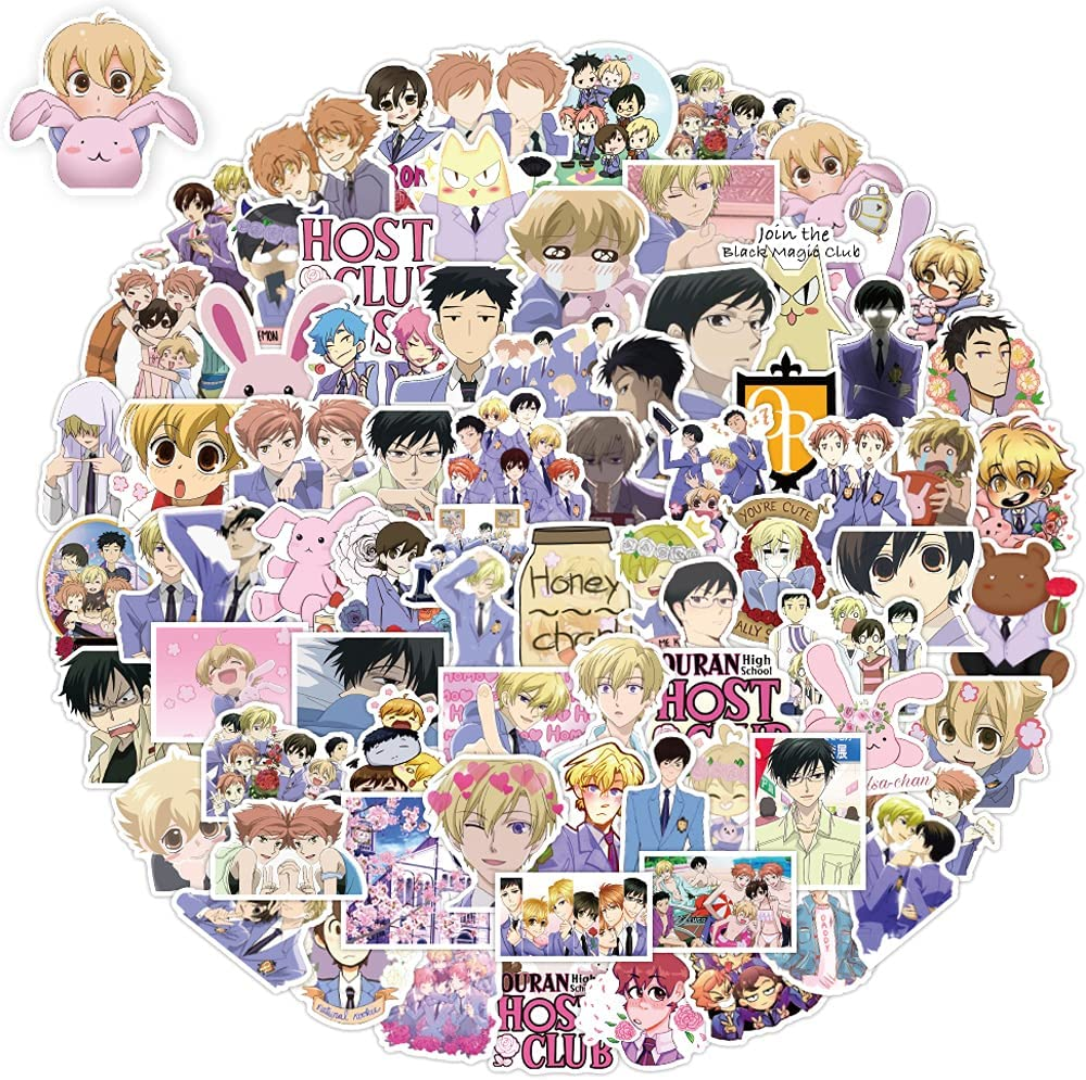 Ouran High School Host Club Stickers 100 Pcs, Anime Stickers for Water Bottle Hydroflask, Computer Laptop Stickers Pack, Waterproof, Sun Protection, No Residue Removal, Suitable for DIY Decoration