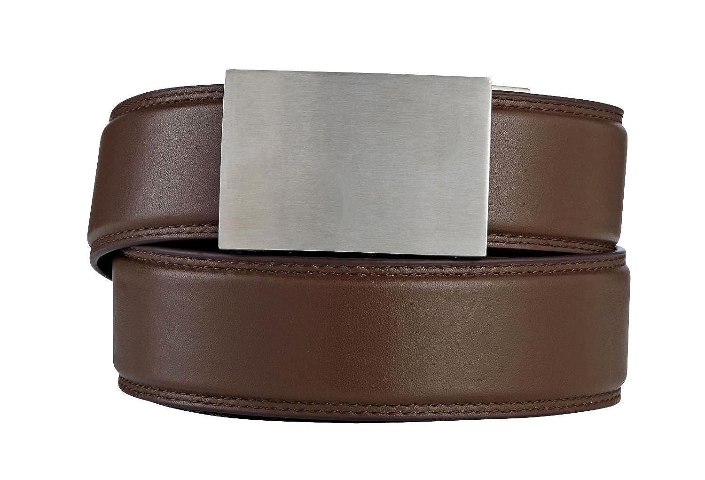"KORE Men's Full-Grain Leather Track Belts | ""Eureka"" Stainless Steel Buckle"