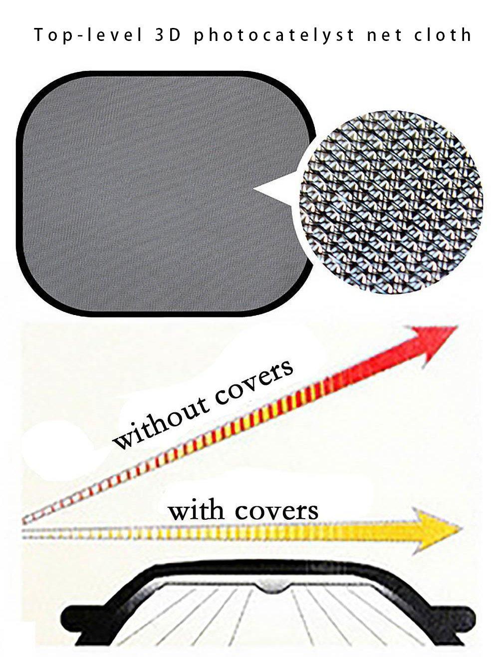 GIANCOMICS 7pcs Universal Foldable Windshield Car Sun Shades Set Auto Car Sunshade UV Reflector Protector 12 Suction Cups Silvering 1 Front Shade 1 Bag 1 Rear Shade 4 Side Shades