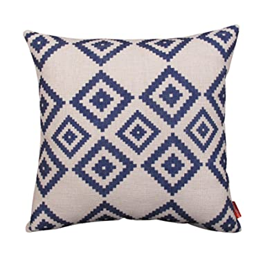 Kingla Home Cotton Linen Square Decorative Couch Cushion Covers 18x18 Inch Pillowcases Navy Blue Modern Geometry Throw Pillow Covers