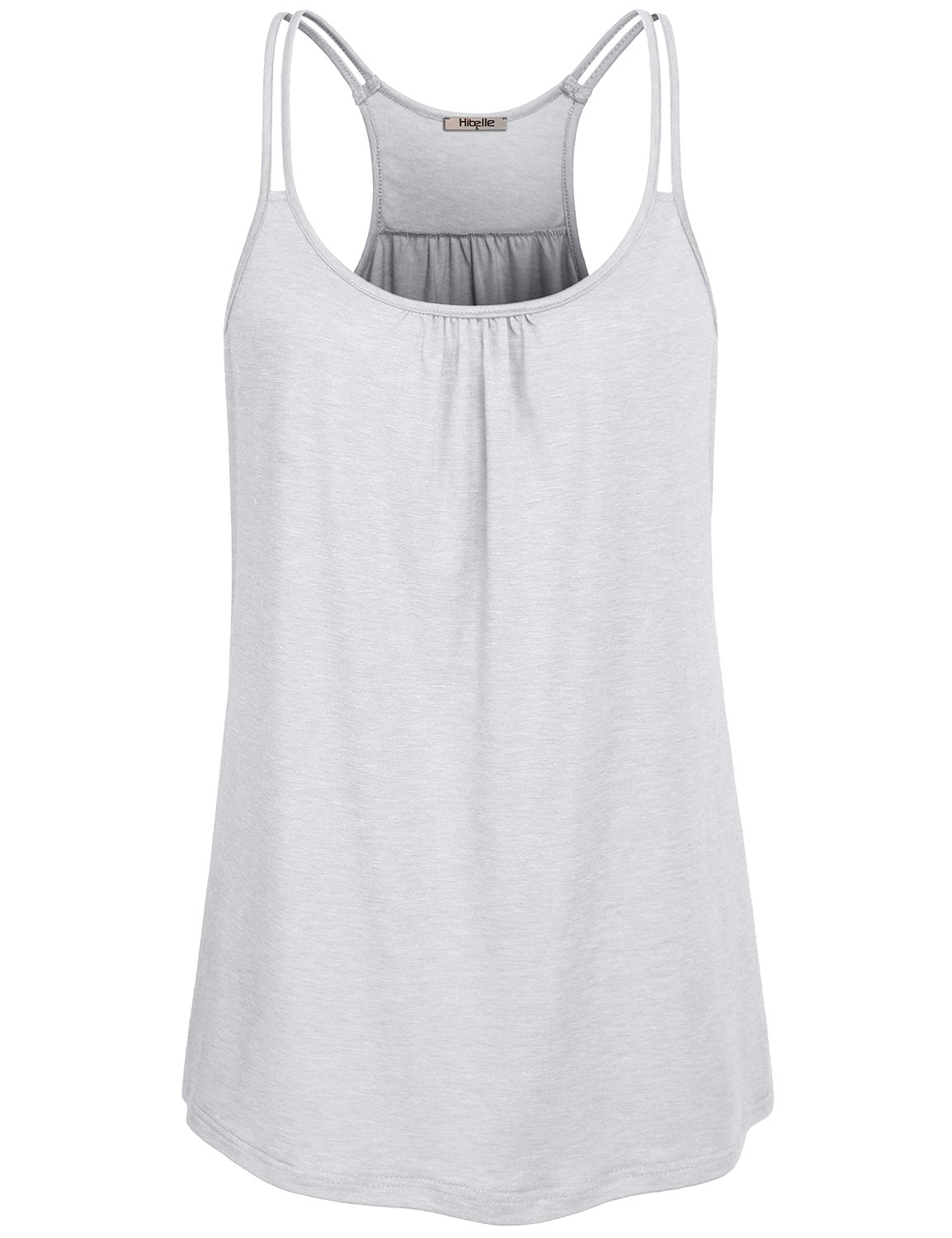 Hibelle Moisture Wicking Shirts Women, Ladies Sleeveless Summer Casual Yoga Sports Tank Tops Scoop Neck Flowy Dressy Funny Front Ruched Tunic Racerback Loose Fit Drape Top White Small