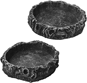 OperSeven 2 Pack Reptile Food Bowl Water Bowl Imitating Natural Rock, Breadworm Feeding for Leopard Gecko Lizard Spider Scorpion Chameleon