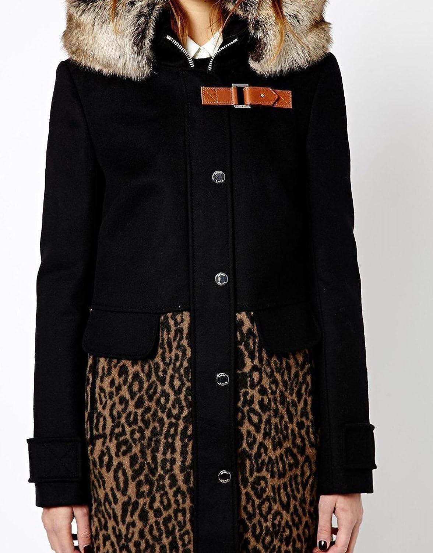 2ef9bf8c9ed0 Karen Millen Leopard Print Black Duffle Coat Wool Fur Collar Hood (Women's  UK Size 10 / EU 38 / US 6): Amazon.co.uk: Clothing