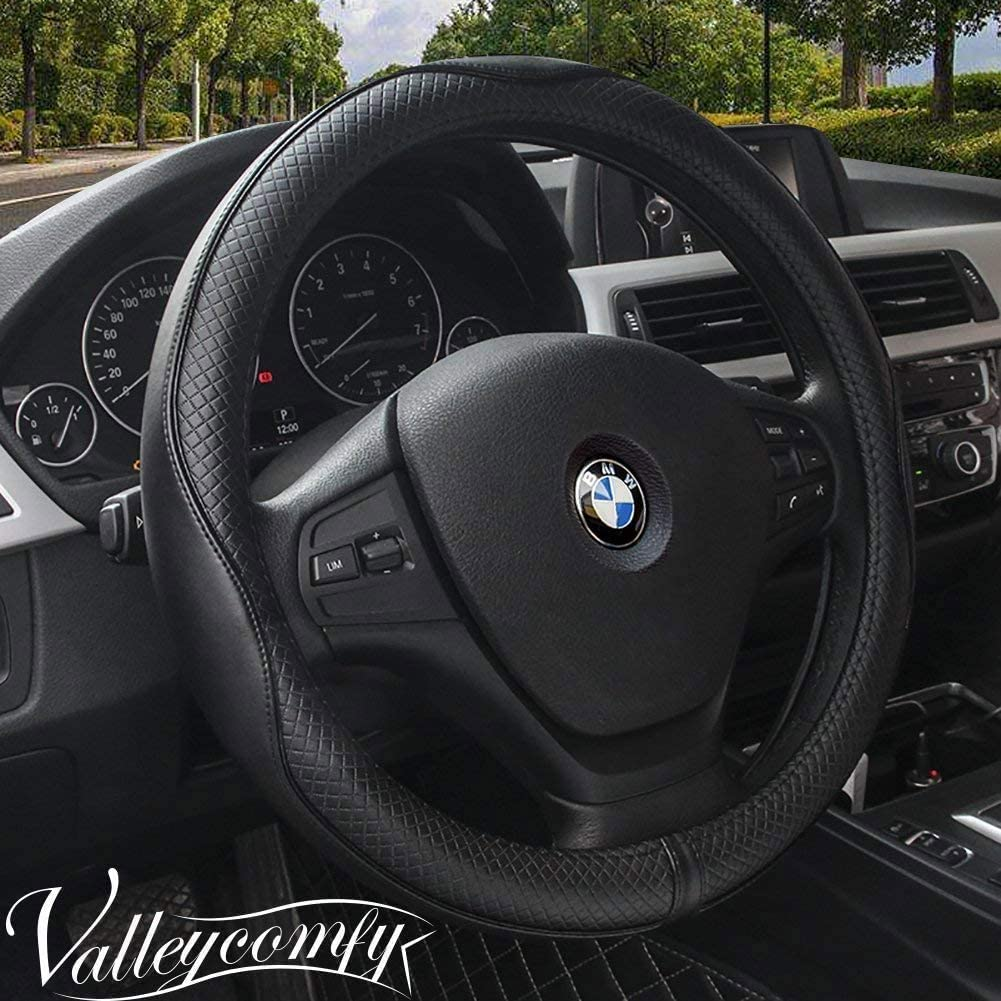 Valleycomfy 14.25 inch Auto Car Steering Wheel Covers Black with Black Lines- Genuine Leather for Prius Civic