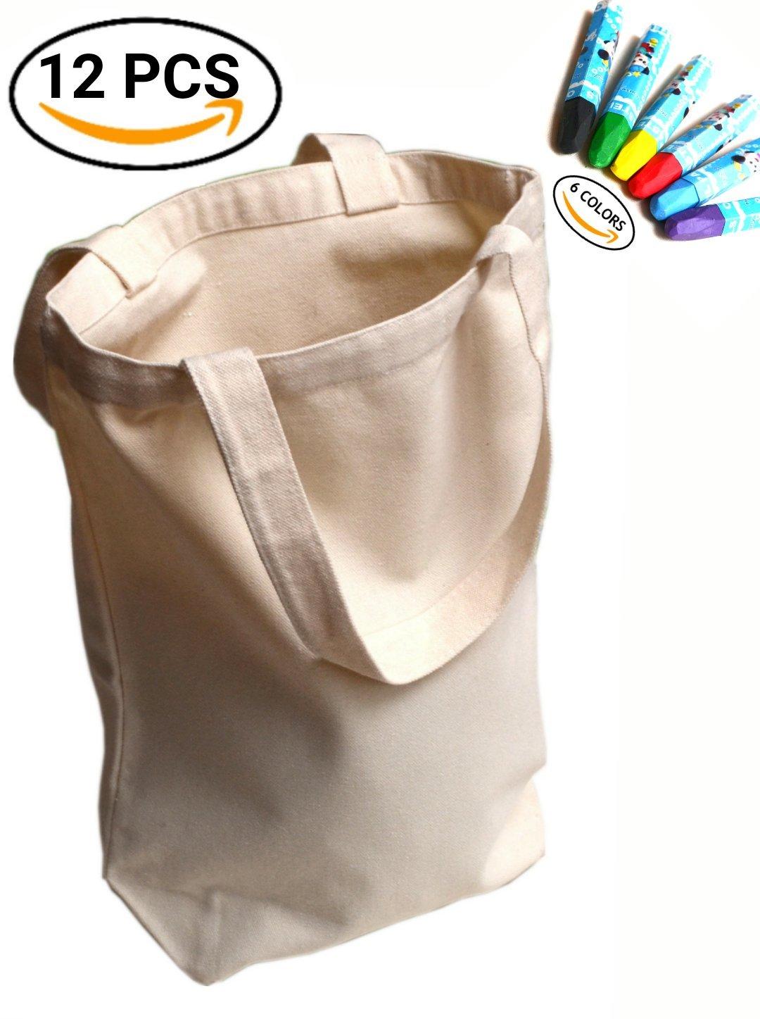 upbrandsキャンバストートバッグ – 6パック – ピュアカラー – Large – Suitable forギフト/ Favor andショッピング/ Grocery (頑丈な10オンス) – 含ま6パックa5インクジェット転送紙と6色ワックスクレヨン B07564K6FQ