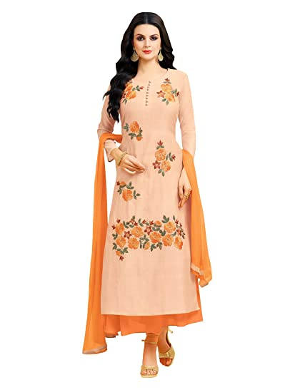 c34741f61b Applecreation Women'S Chanderi Silk Unstitched Dress Material (Peach_Free  Size)
