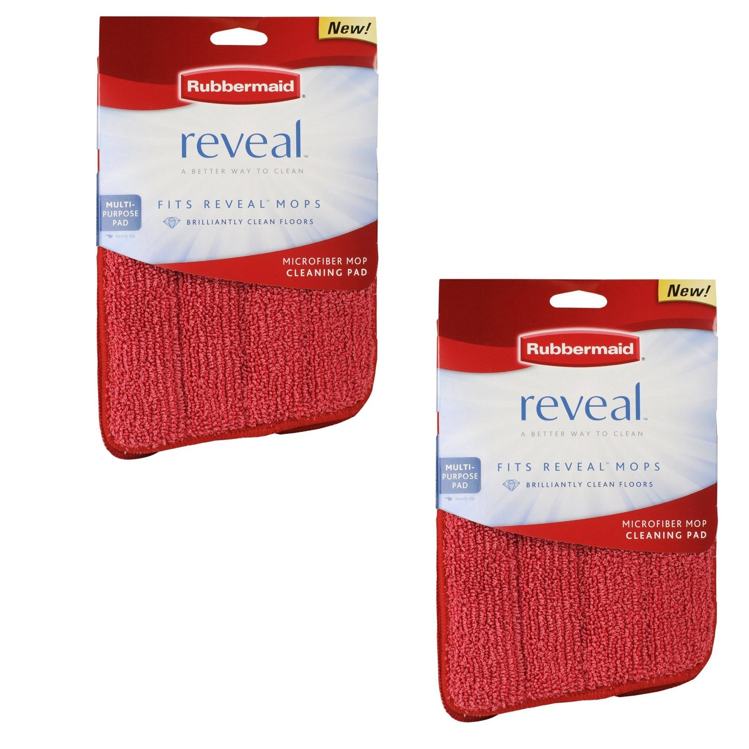 """Rubbermaid - Reveal Mop Microfiber Cleaning Pad, Red, 15"""" Wide (2-Pack)"""
