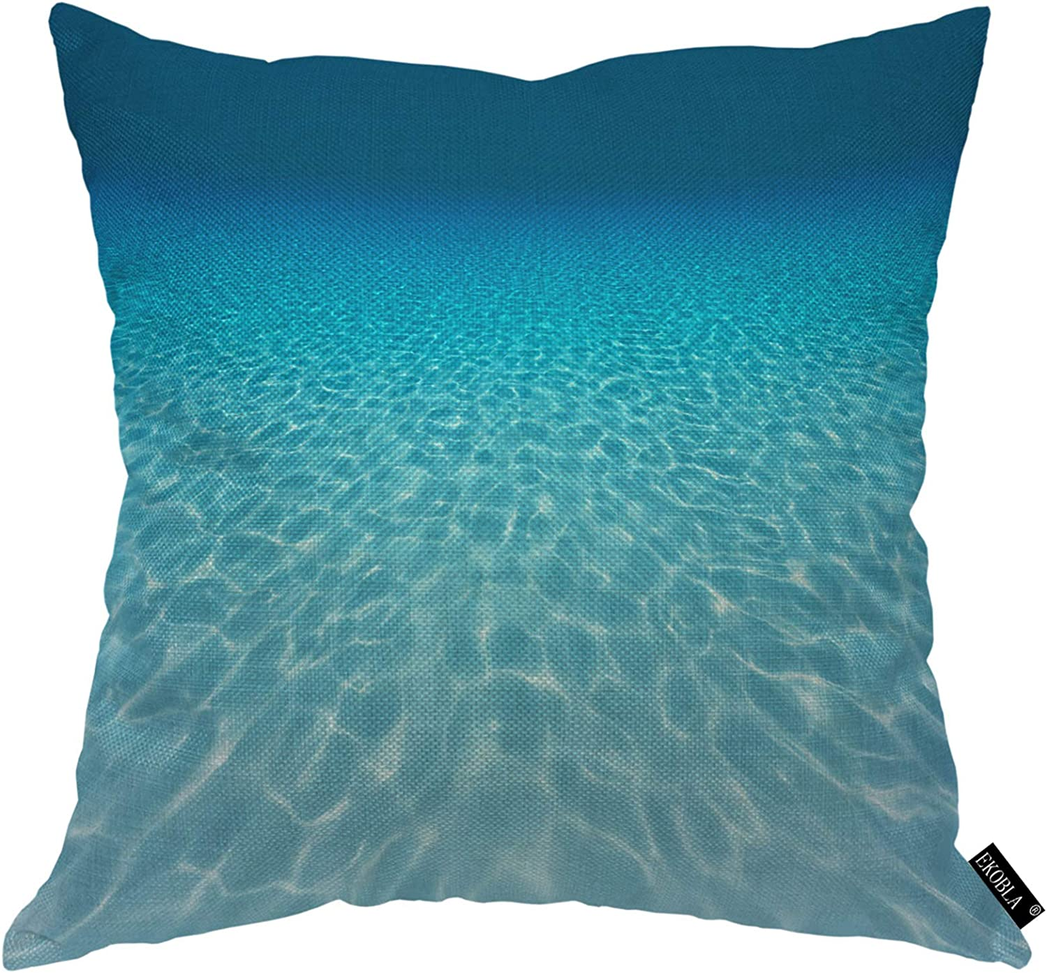 EKOBLA Underwater Scene Throw Pillow Cover Tranquil Marine Beams Summer Clean Swimming Pool Cozy Square Cushion Case for Men Women Boys Girls Room Home Decor Cotton Linen 18x18 Inch