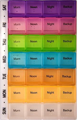 PuTwo Pill Box Organizer with 7 Day AM and PM Night Reminder Mediplanner