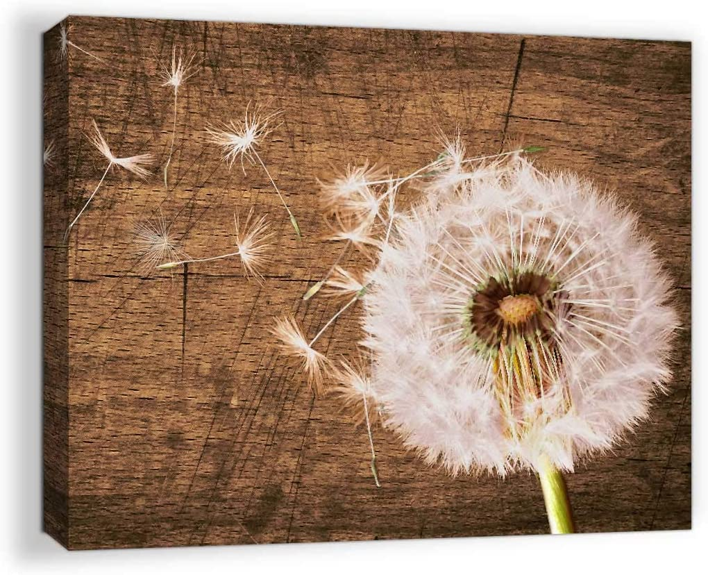 Canvas Art Wall Decor for Bathroom Art Modern Rustic Home Decor Pictures for Bedroom Wall Decor Artwork for Home Walls Dandelion Wall Decor Framed Flowers Wall Art Wooden Board Decoration Size 12x16