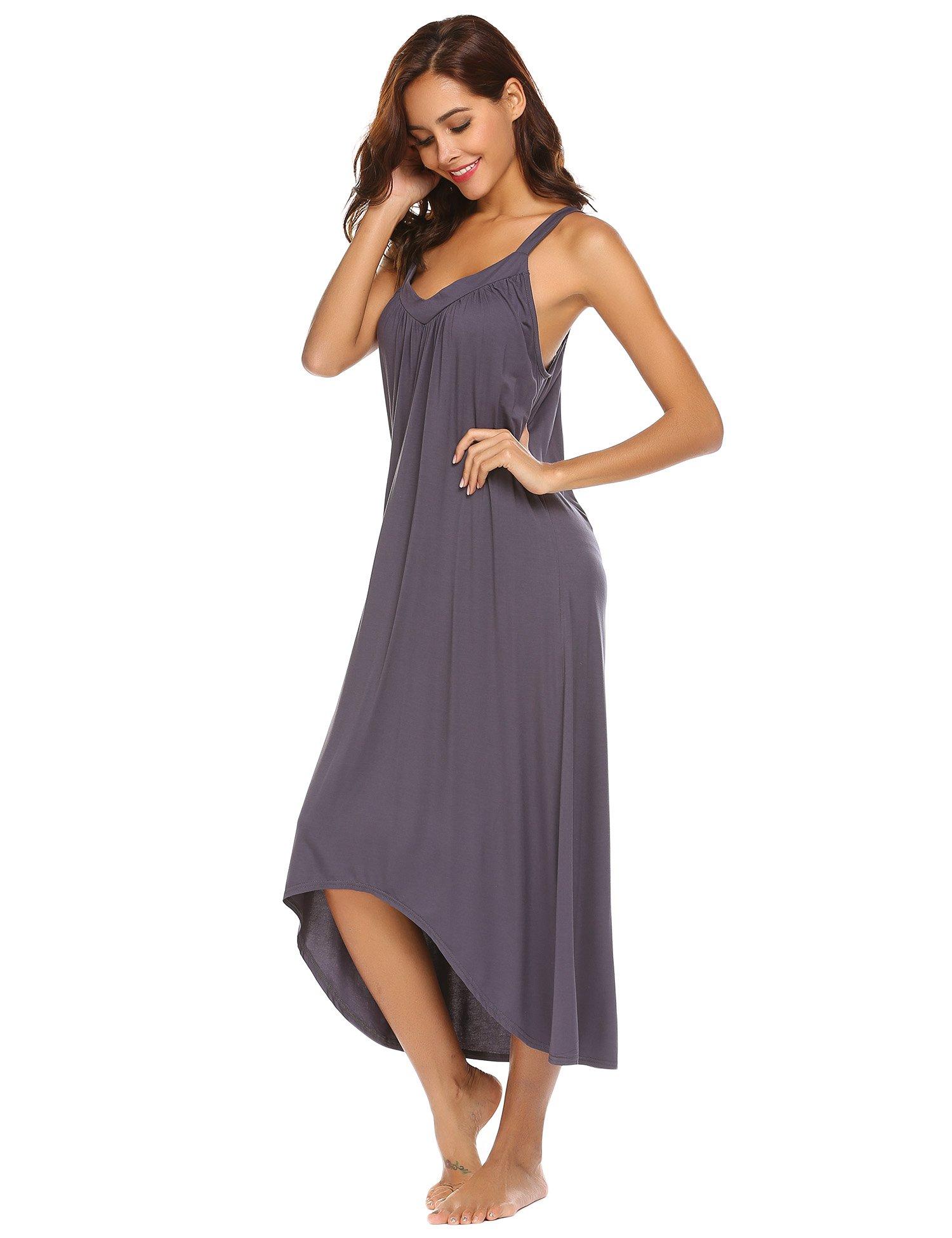 Ekouaer Womens Sleeveless Long Nightgown Summer Slip Night Dress Cotton Sleepshirt Chemise,A-dark Grey_6696,Small by Ekouaer (Image #4)