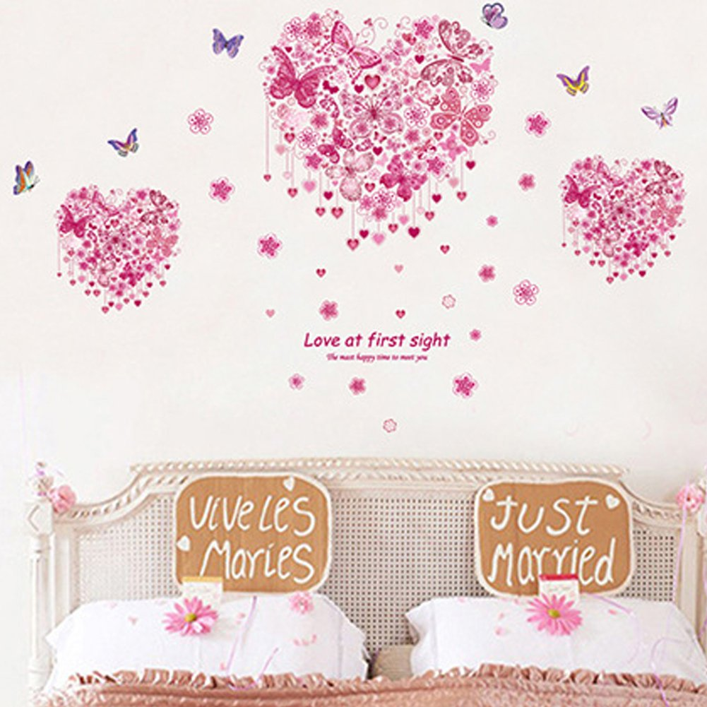 Heart Shape Butterflies Flowers Wall Decals Home Stickers House Decoration WallPaper Removable Living Dinning Room Bedroom Kitchen Art Picture Murals DIY Stick Girls Boys Kids Nursery Baby Playroom Decoration fashionbeautybuy1