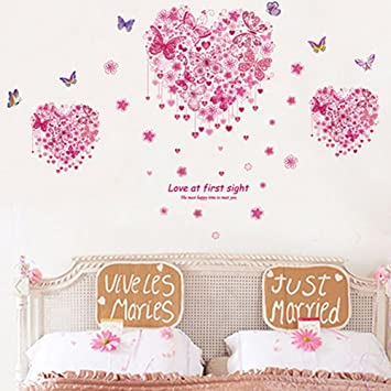 Heart Shape Butterflies Flowers Wall Decals Home Stickers House Decoration  WallPaper Removable Living Dinning Room Bedroom Part 35