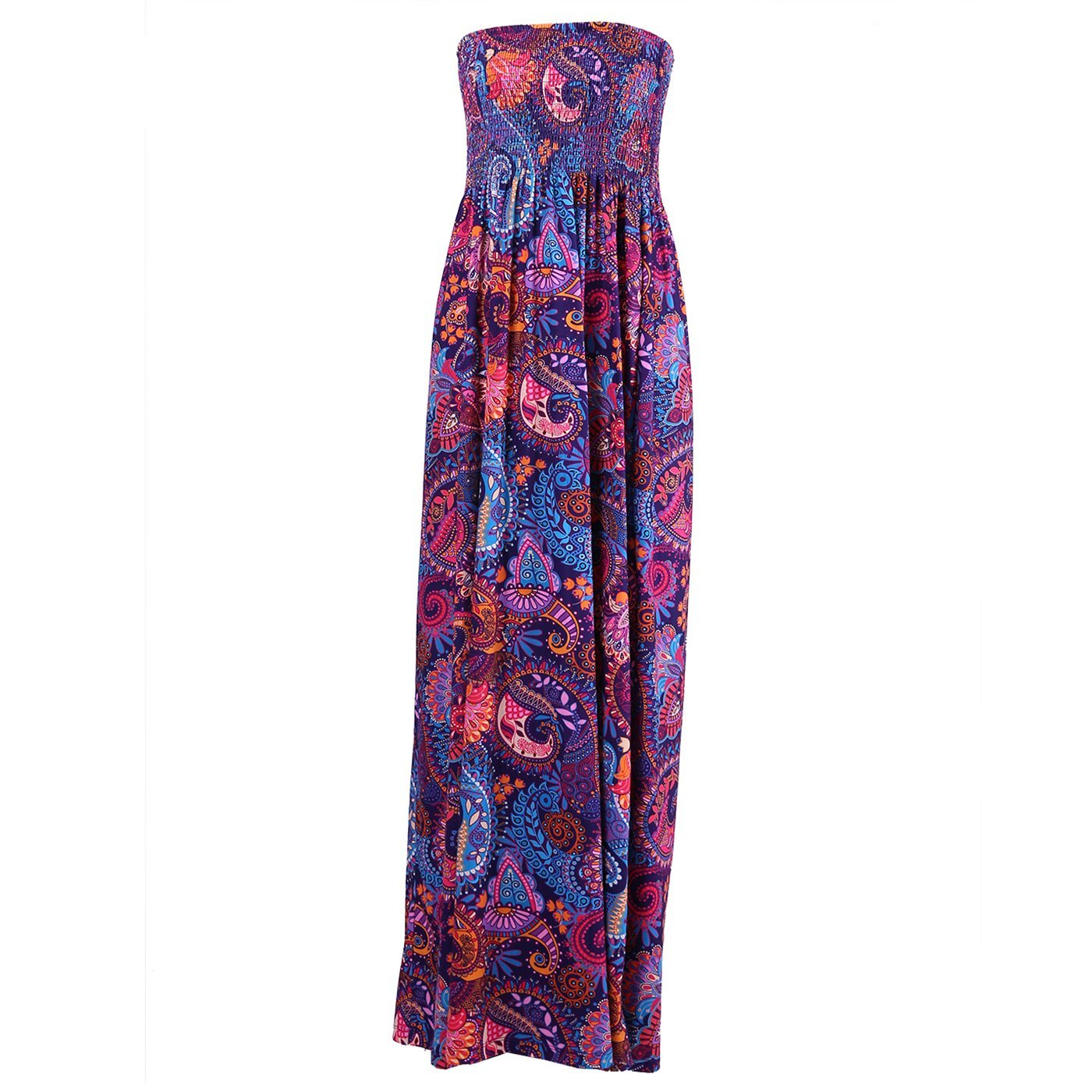 HDE Women's Strapless Maxi Dress Plus Size Tube Top Long Skirt Sundress Cover up (Purple Paisley, 2X) by HDE (Image #5)