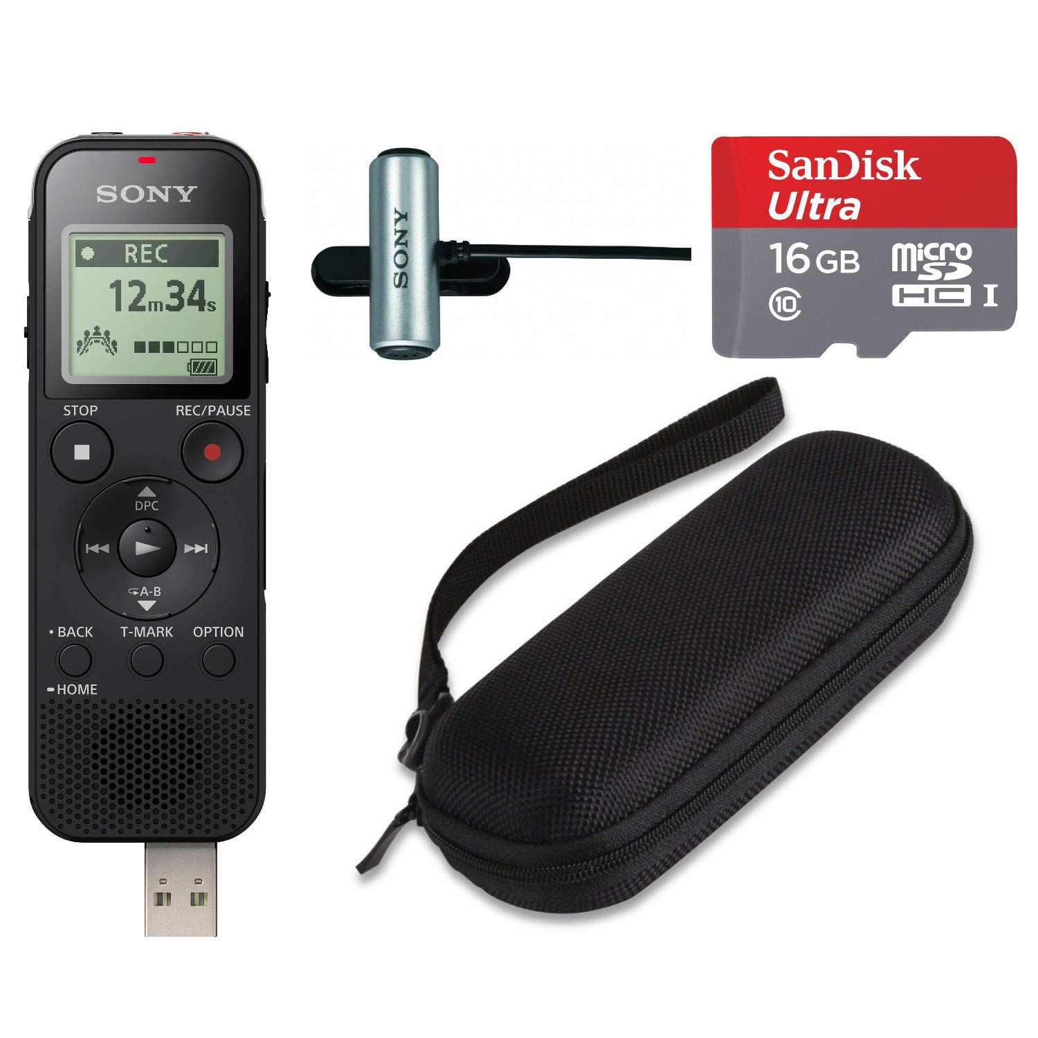 Sony ICD-PX470 Stereo Digital Voice Recorder with Built-in USB Mic, 16GB microSD, and Hard Carrying case