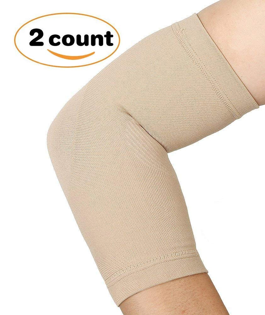 Elbow Compression Sleeves, 1 Pair, TOFLY Lightweight Elbow Brace Support for Men Women, Reduce Joint Pain-Improve Circulation & Recovery, Best Support for Tendonitis, Weight Lifting Nude XL