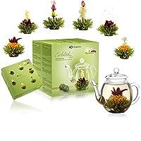 Creano Theebloemen Mix - cadeauset met glazen kan groene thee fruitig gearomatiseerd (eerozen in 6 soorten), bloeiende…