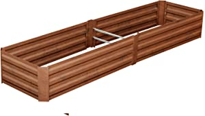Outdoor 8x2 Ft Metal Raised Garden Bed Patio Large Frame Planters Box for Vegetables/Flower/