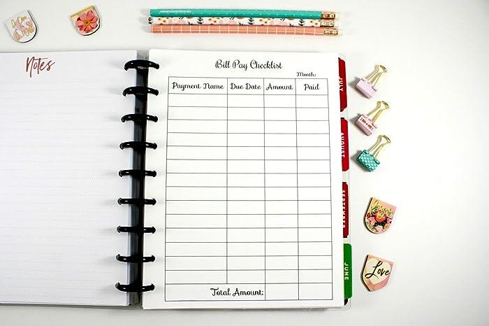 amazon com classic happy planner montly bill pay checklist classic