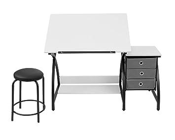 Wondrous Sd Studio Designs 13326 Comet Center With Stool Black White 50 W X 23 75 D X 29 5 H Bralicious Painted Fabric Chair Ideas Braliciousco